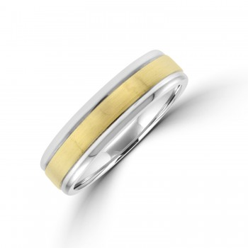 9ct White Gold 6mm Wedding Ring with Yellow Gold Sleeve