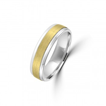 9ct Yellow/White Gold 6mm Plain Satin Wedding Ring