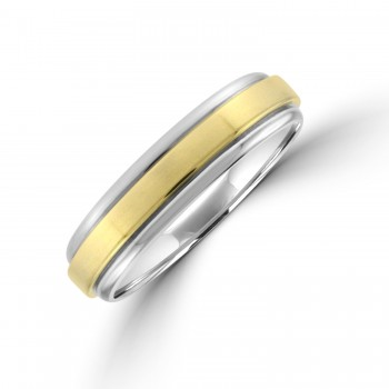 Palladium 500 5mm Court Wedding Ring with 9ct Gold Sleeve