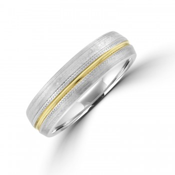 9ct White Gold 6mm Wedding Ring with a Yellow Gold line & Bead