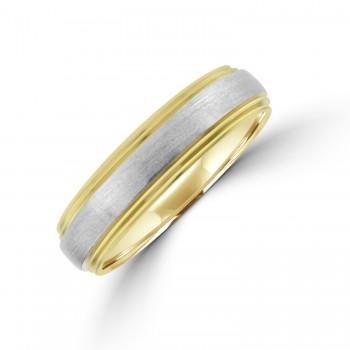 9ct Gold 5mm Wedding Ring with Brushed Palladium Sleeve