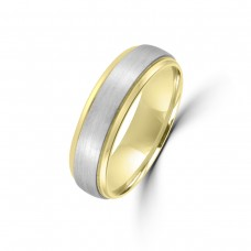 9ct Yellow Gold / Palladium 950 6mm Plain Wedding Ring