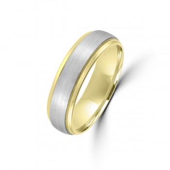 9ct Yellow Gold / Palladium 950 6mm Plain Wedding Ring