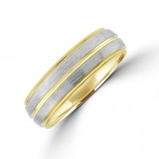 9ct Gold 6mm Wedding Ring with 2 Brushed Palladium Sleeves