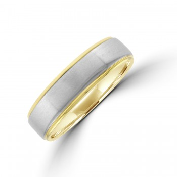 9ct Gold 6mm Wedding Ring with Palladium Sleeve