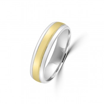 9ct Yellow/White Gold 5mm Plain Wedding Ring