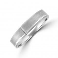 Palladium 5mm Flat Court Lined Brushed Wedding Ring