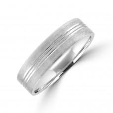 9ct White Gold 6mm Tri-Lined Brushed Wedding Ring