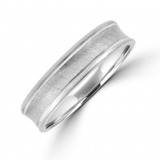 Platinum 5mm Court Concave Brushed Wedding Ring