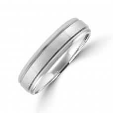 9ct White Gold 5mm Court Lined Wedding Ring