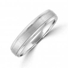 9ct White Gold 5mm Court Polished/Brushed Wedding Ring