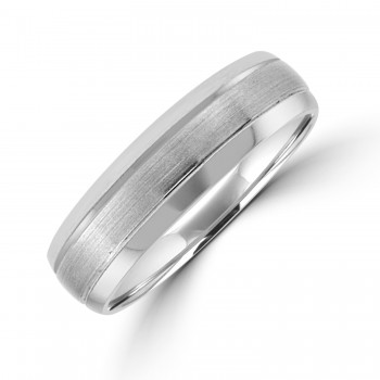 9ct White Gold 6mm Court Polished & Brushed Wedding Ring