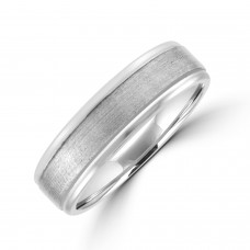 9ct White Gold 6mm Soft Court Polished & Brushed Wedding Ring