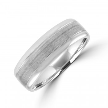 Palladium 7mm Court Polished & Brushed Wedding Ring