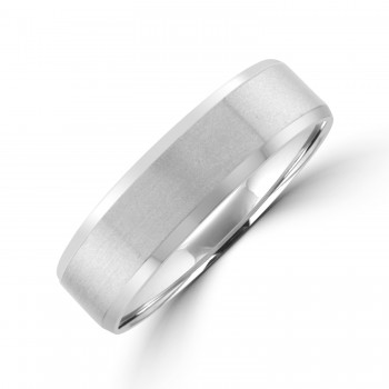 Palladium 6mm Flat court Bevelled Wedding Ring