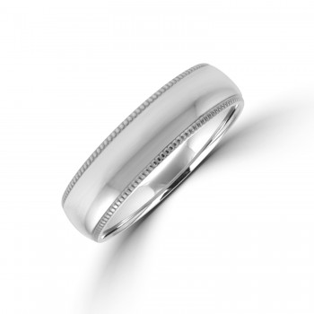 9ct White Gold 6mm Court Beaded Edged Wedding Ring