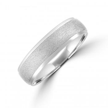 Palladium 6mm Court Polished & Brushed Wedding Ring