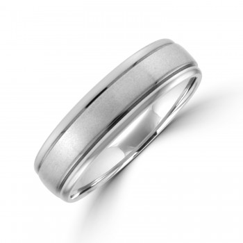 9ct White Gold 6mm Court Lined Wedding Ring
