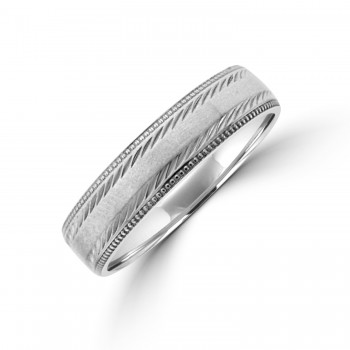 Palladium 5mm Court Beaded Edge Wedding Ring
