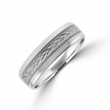 Palladium 6mm Court Patterned Wedding Ring