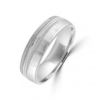 Palladium 950 6mm Satin Beaded Wedding Ring