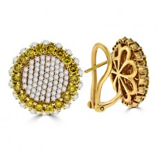 18ct Rose Gold Yellow & White Diamond Cluster Stud Earrings