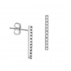 18ct White Gold Diamond Bar Stud Earrings