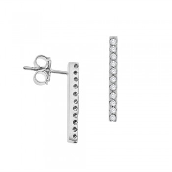 18ct White Gold Diamond Bar Stud Earrings