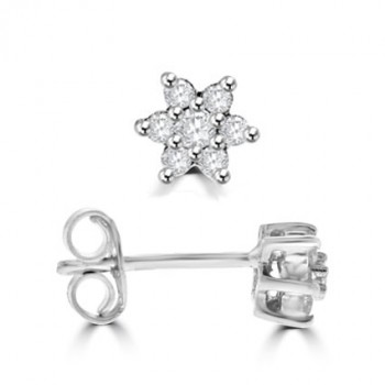 18ct White Gold Diamond Star Cluster Earrings