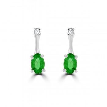 18ct White Gold Emerald & Diamond Drop Earrings