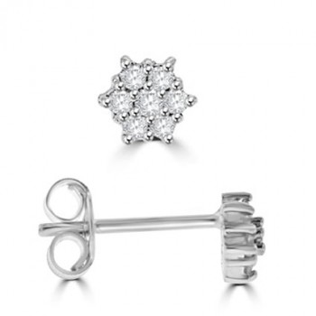 18ct White Gold 7-stone Diamond Star Cluster Earrings