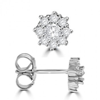 18ct White Gold 9-stone Diamond Cluster Stud Earrings