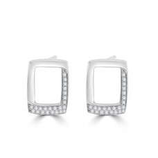 18ct White Gold Pave Diamond Oblong Stud Earrings