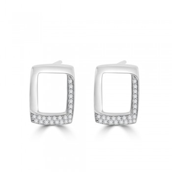 18ct White Gold Pave Diamond Oblong Stud Earrings