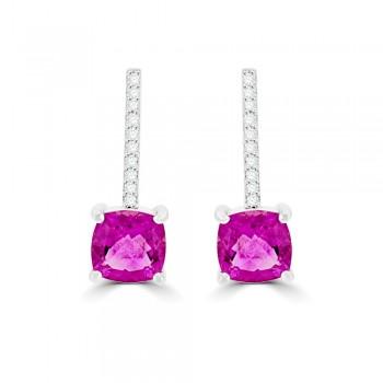 18ct White Gold Pink Tourmaline & Diamond Drop Earrings