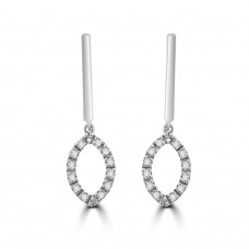 18ct White Gold Open Marquise Diamond Drop Earrings