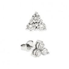 18ct White Gold Diamond Trilogy Stud Earrings