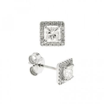 18ct White Gold Princess Diamond Halo Stud Earrings