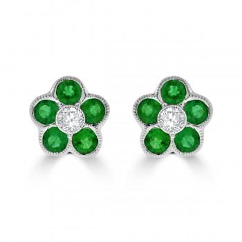 18ct White Gold Emerald & Diamond 5x1 Cluster Stud Earring