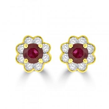 18ct Gold Ruby & Diamond 8x1 Cluster Stud Earrings