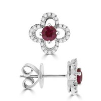 18ct White Gold Ruby & Diamond Floral Earring Studs