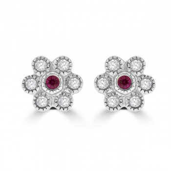 18ct White Gold Ruby & Diamond 6x1 Cluster Stud Earrings