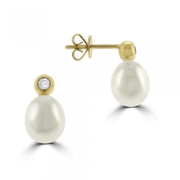 18ct Gold Cultured Pearl & Diamond Drop