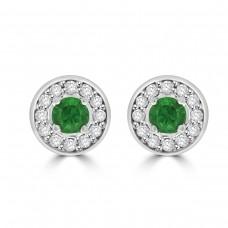18ct Gold Emerald & Diamond Halo Stud Earrings