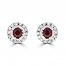 18ct Gold Ruby & Diamond Halo Stud Earrings
