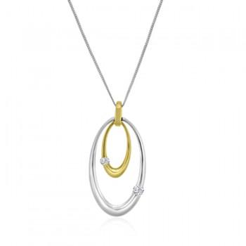 18ct Yellow & White Gold Diamond Oval Drop Pendant 16