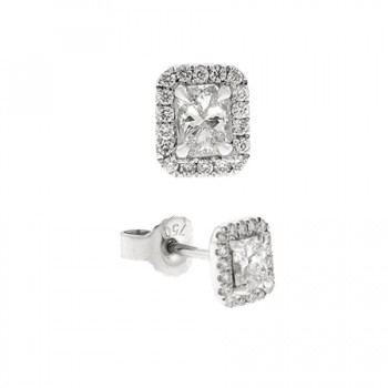 18ct White Gold Phoenix cut Diamond Halo Stud Earrings