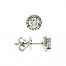 18ct White Gold Diamond Solitaire Halo Stud Earrings