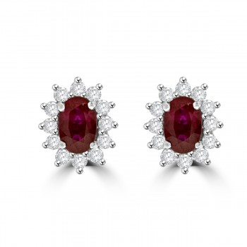 18ct White Gold Ruby & Diamond Oval Cluster Stud Earrings