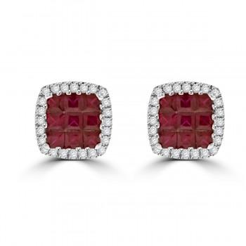 18ct White Gold Princess Ruby & Diamond Stud Earrings